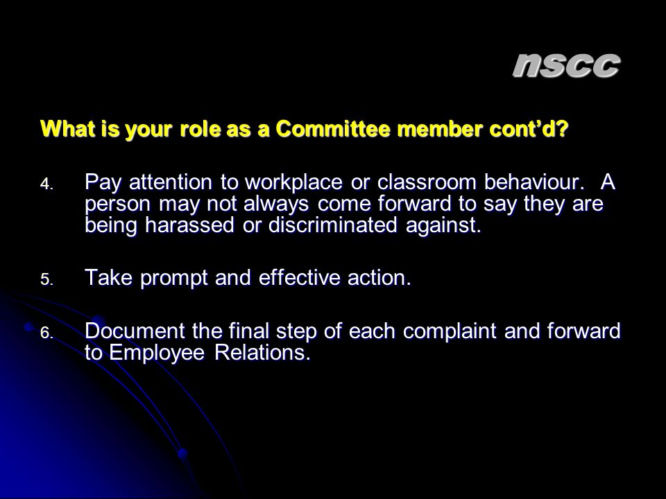 nscc What is your role as a Committee member cont'd