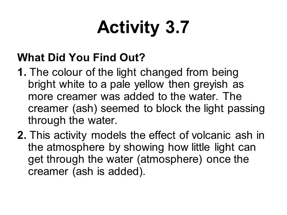 Activity 3.7 What Did You Find Out