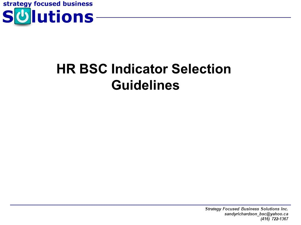 HR BSC Indicator Selection