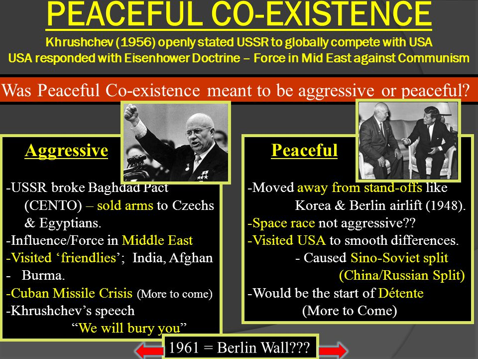 PEACEFUL CO-EXISTENCE Khrushchev (1956) openly stated USSR to globally compete with USA USA responded with Eisenhower Doctrine – Force in Mid East against Communism
