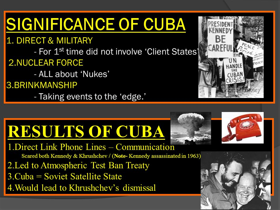 SIGNIFICANCE OF CUBA 1. DIRECT & MILITARY