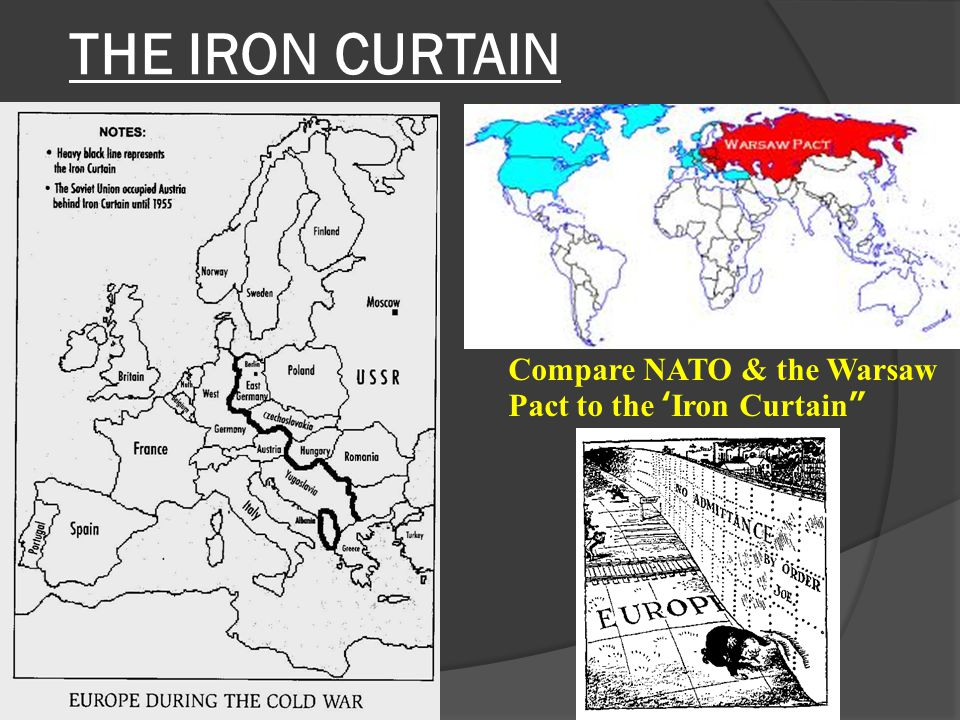 THE IRON CURTAIN Compare NATO & the Warsaw Pact to the 'Iron Curtain