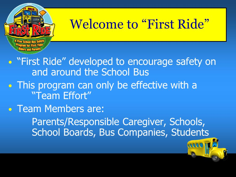 Welcome to First Ride