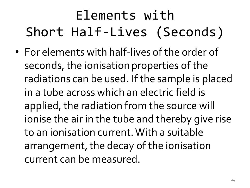 Elements with Short Half-Lives (Seconds)