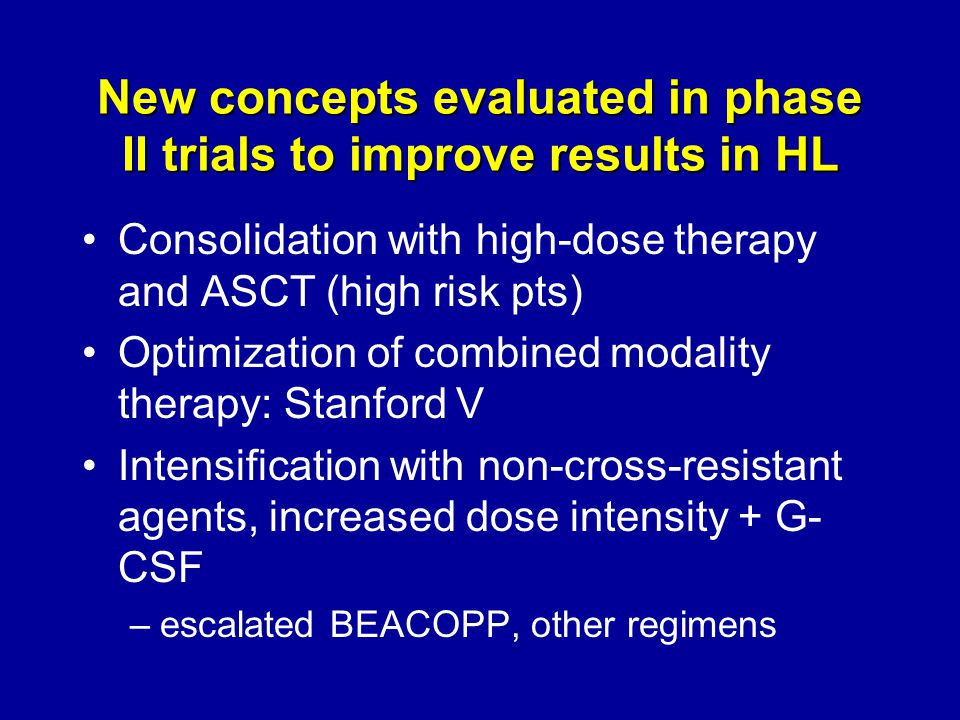 New concepts evaluated in phase II trials to improve results in HL