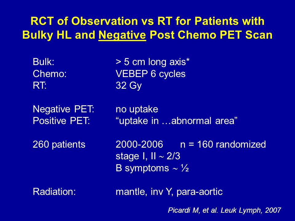 RCT of Observation vs RT for Patients with Bulky HL and Negative Post Chemo PET Scan