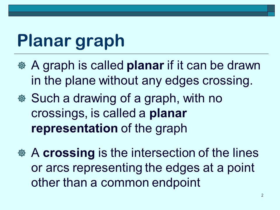 Planar graph A graph is called planar if it can be drawn in the plane without any edges crossing.