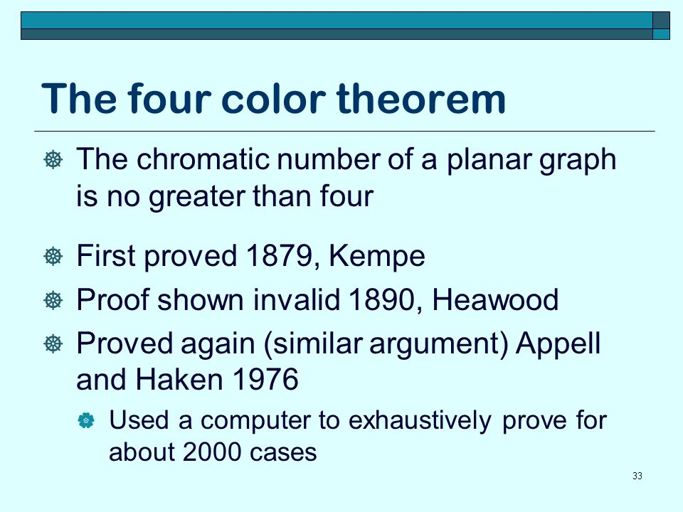 The four color theorem The chromatic number of a planar graph is no greater than four. First proved 1879, Kempe.