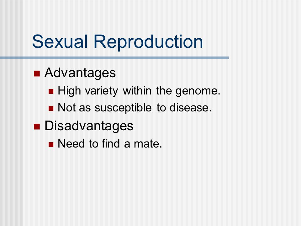 Sexual Reproduction Advantages Disadvantages