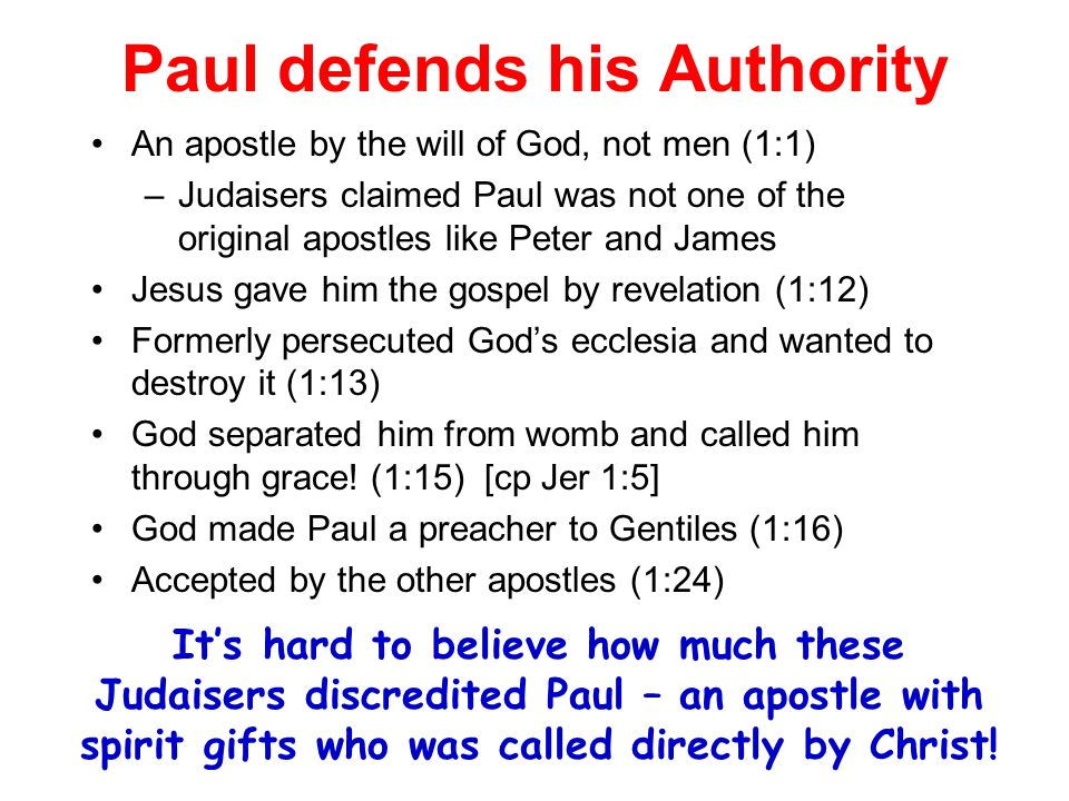 Paul defends his Authority