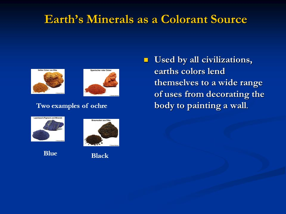 Earth's Minerals as a Colorant Source