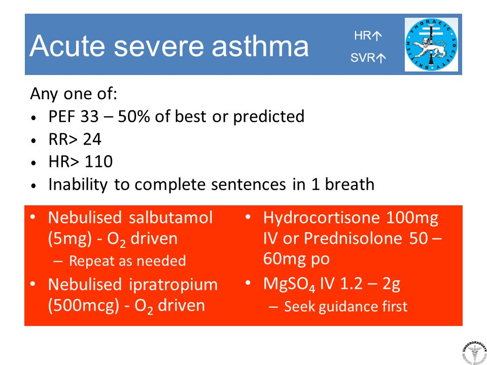 Acute severe asthma Any one of: PEF 33 – 50% of best or predicted