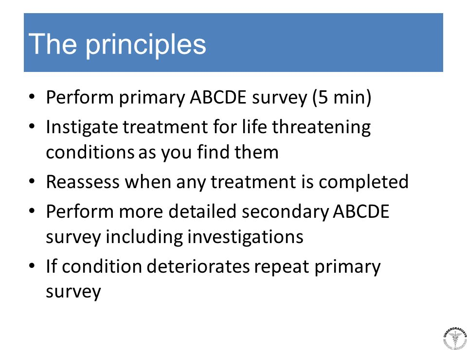 The principles Perform primary ABCDE survey (5 min)