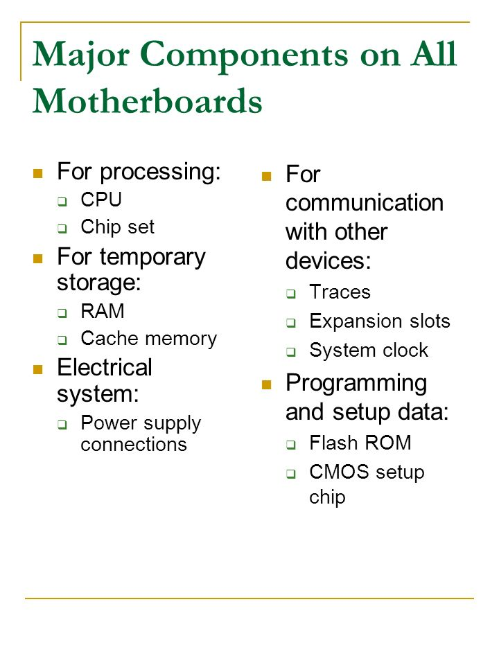 Major Components on All Motherboards