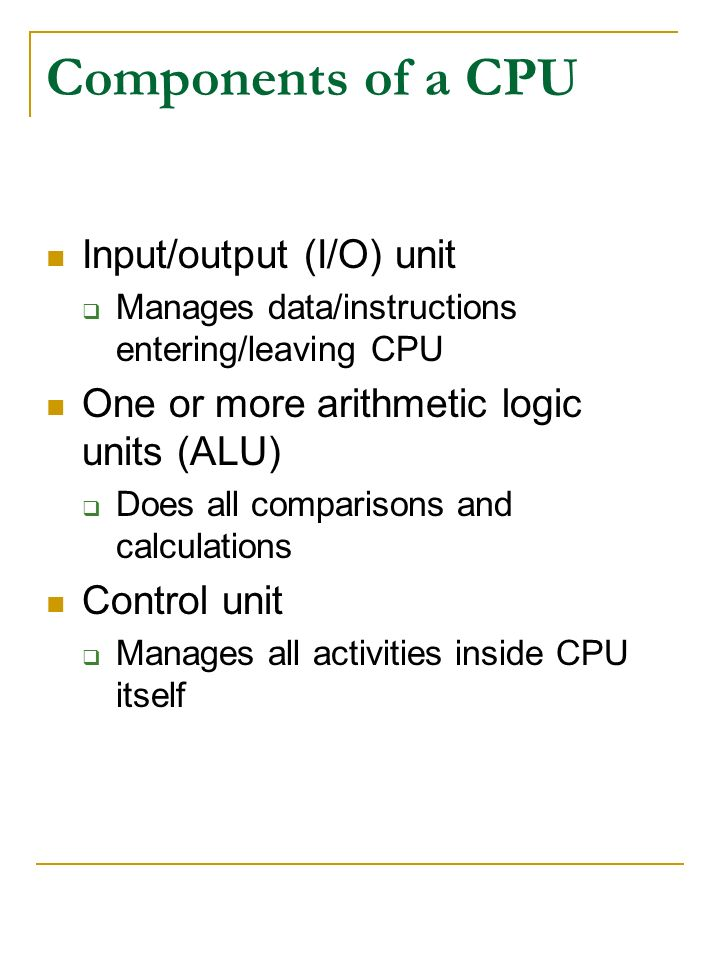 Components of a CPU Input/output (I/O) unit