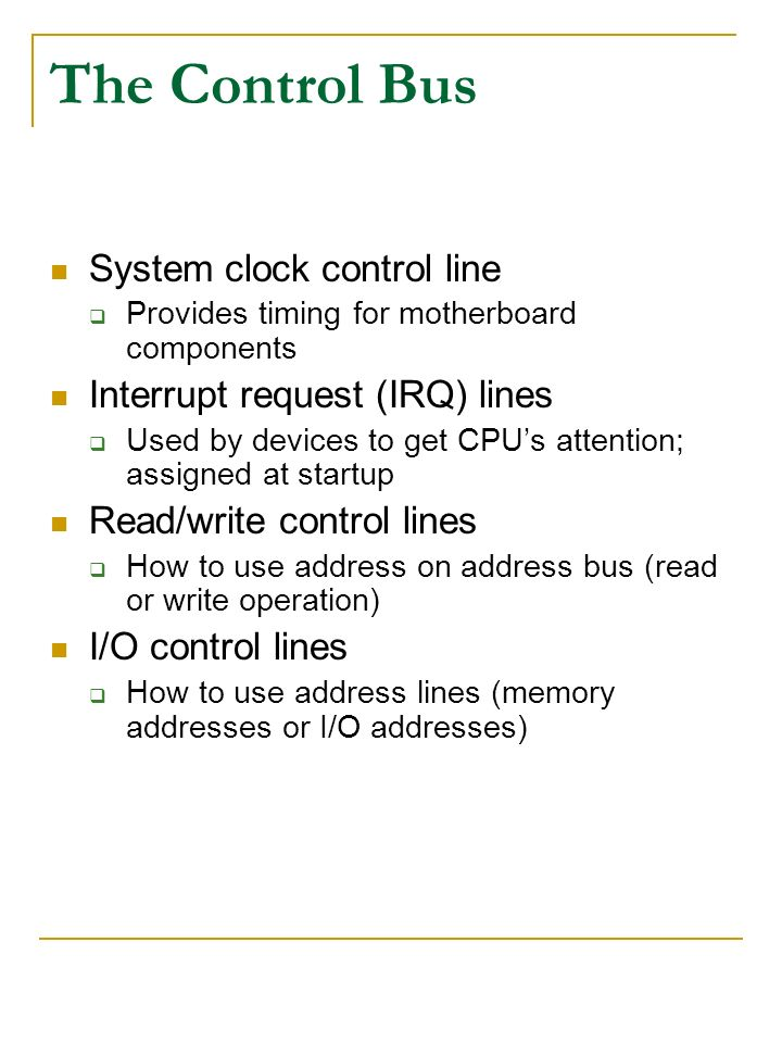 The Control Bus System clock control line