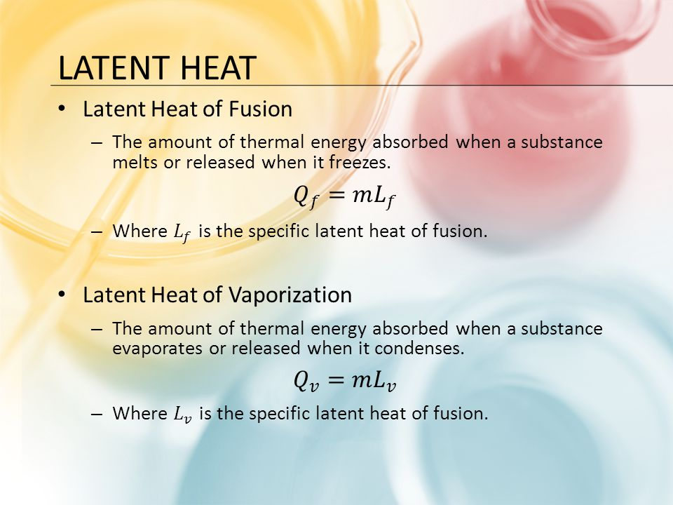 Latent Heat Latent Heat of Fusion 𝑄 𝑓 =𝑚 𝐿 𝑓