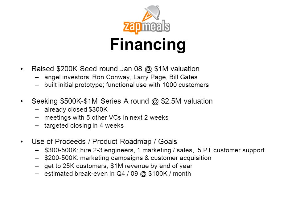 Financing Raised $200K Seed round Jan 08 @ $1M valuation
