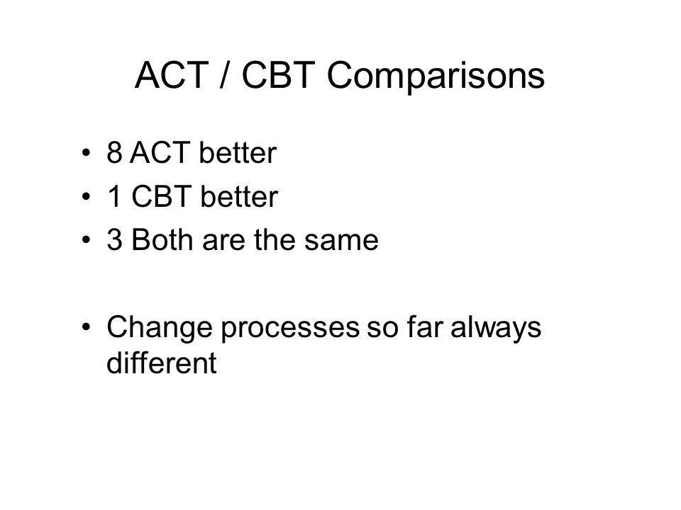ACT / CBT Comparisons 8 ACT better 1 CBT better 3 Both are the same