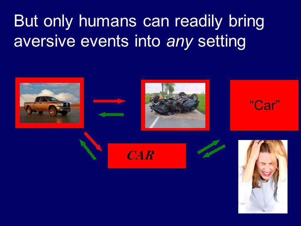 But only humans can readily bring aversive events into any setting