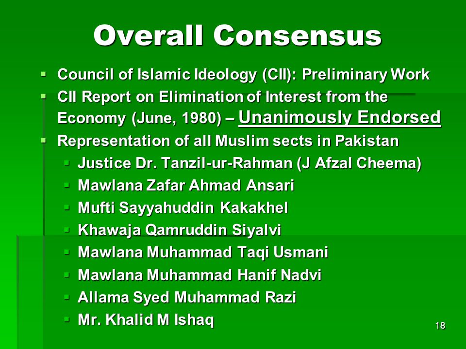 Overall Consensus Council of Islamic Ideology (CII): Preliminary Work