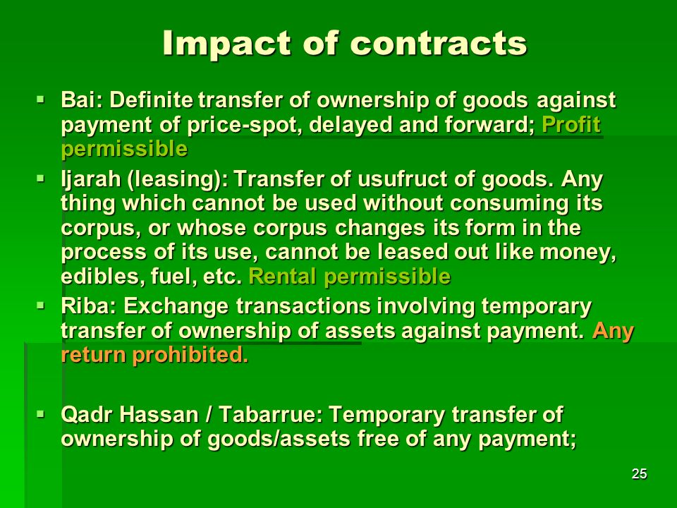 Impact of contracts Bai: Definite transfer of ownership of goods against payment of price-spot, delayed and forward; Profit permissible.