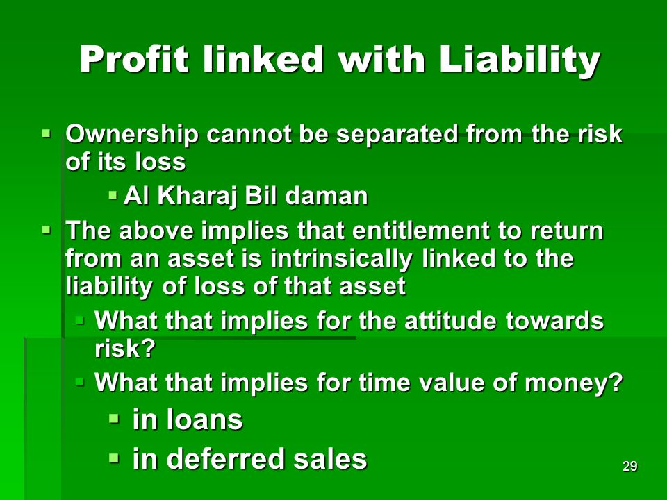 Profit linked with Liability