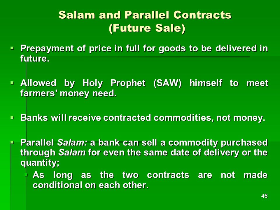 Salam and Parallel Contracts (Future Sale)