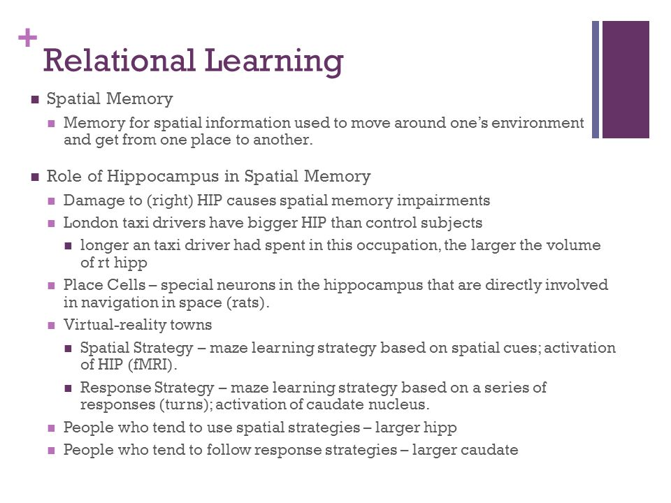 Relational Learning Spatial Memory