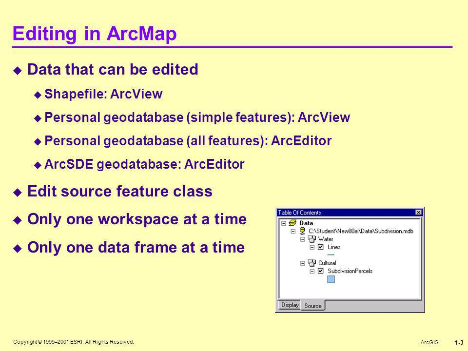 Editing in ArcMap Data that can be edited Edit source feature class