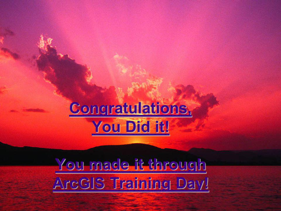 Congratulations, You Did it! You made it through ArcGIS Training Day!