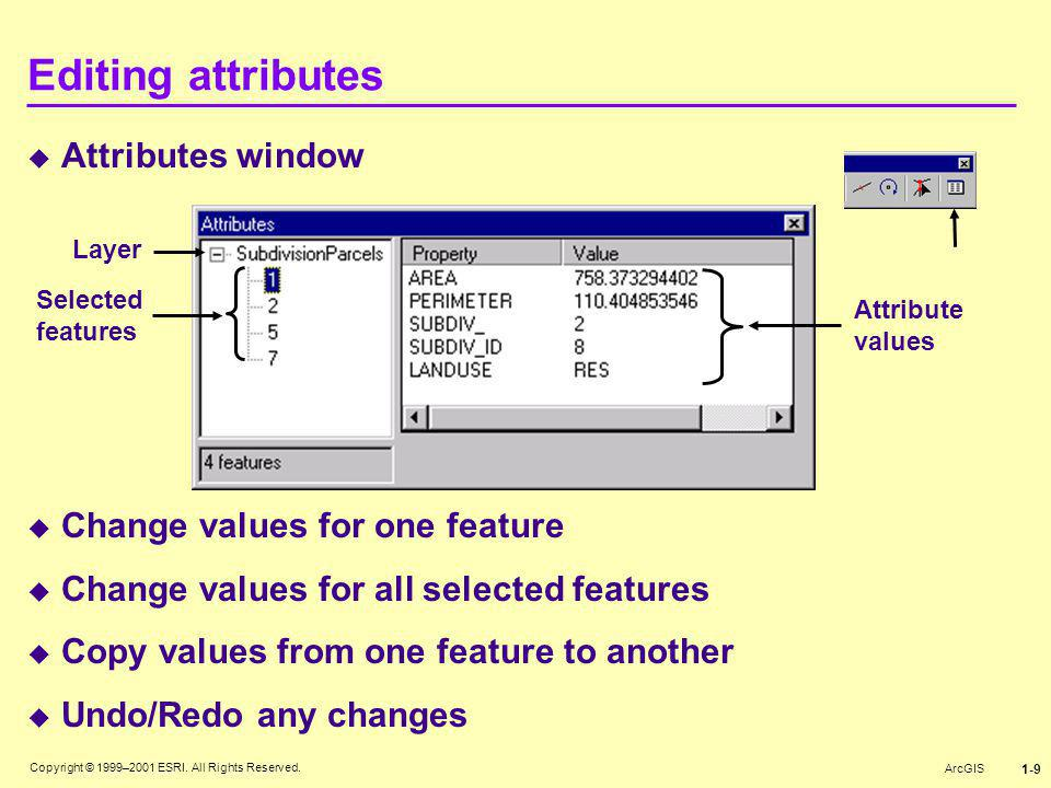 Editing attributes Attributes window Change values for one feature