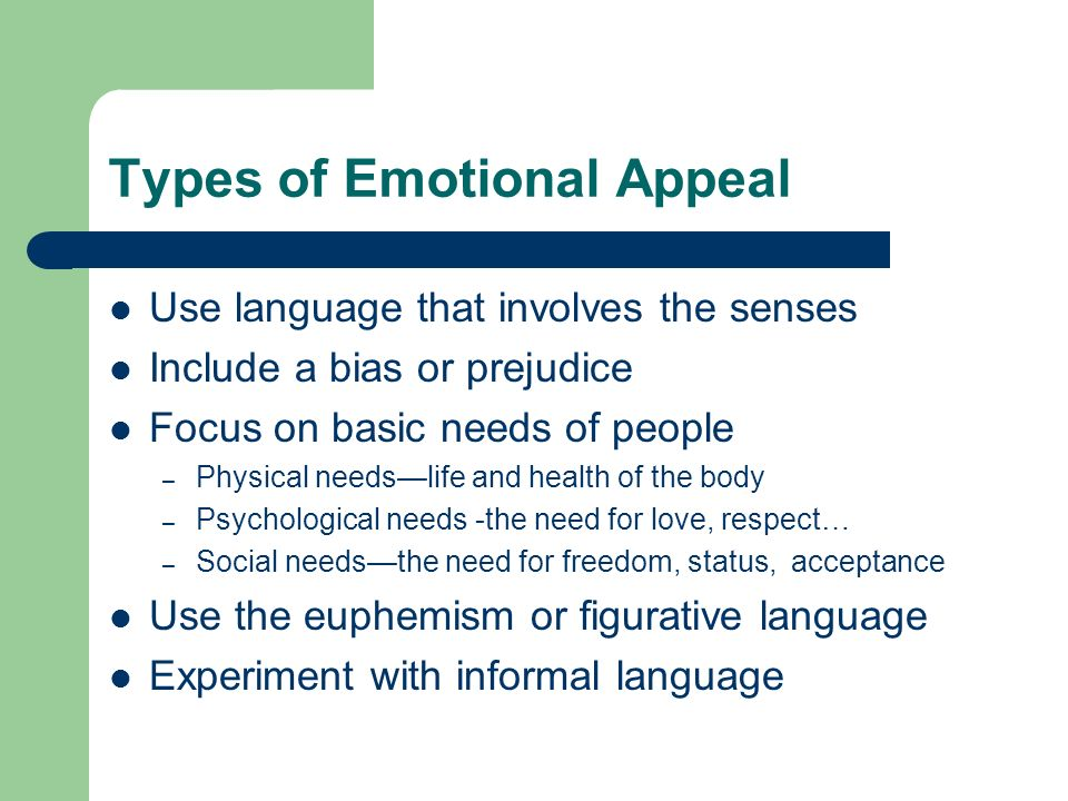 Types of Emotional Appeal