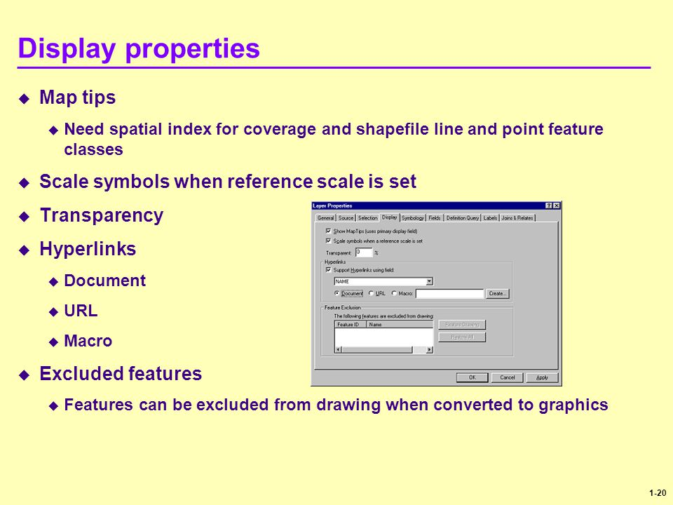 Display properties Map tips Scale symbols when reference scale is set