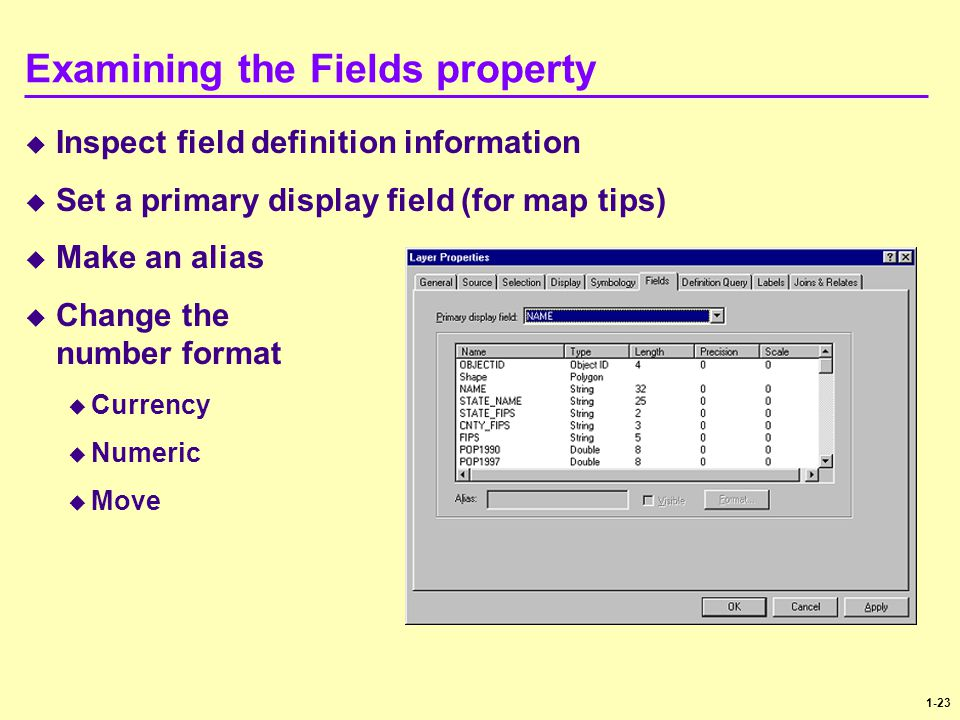 Examining the Fields property