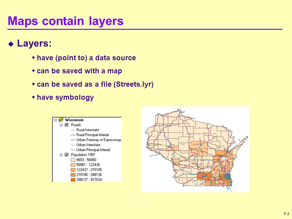 Maps contain layers Layers: have (point to) a data source