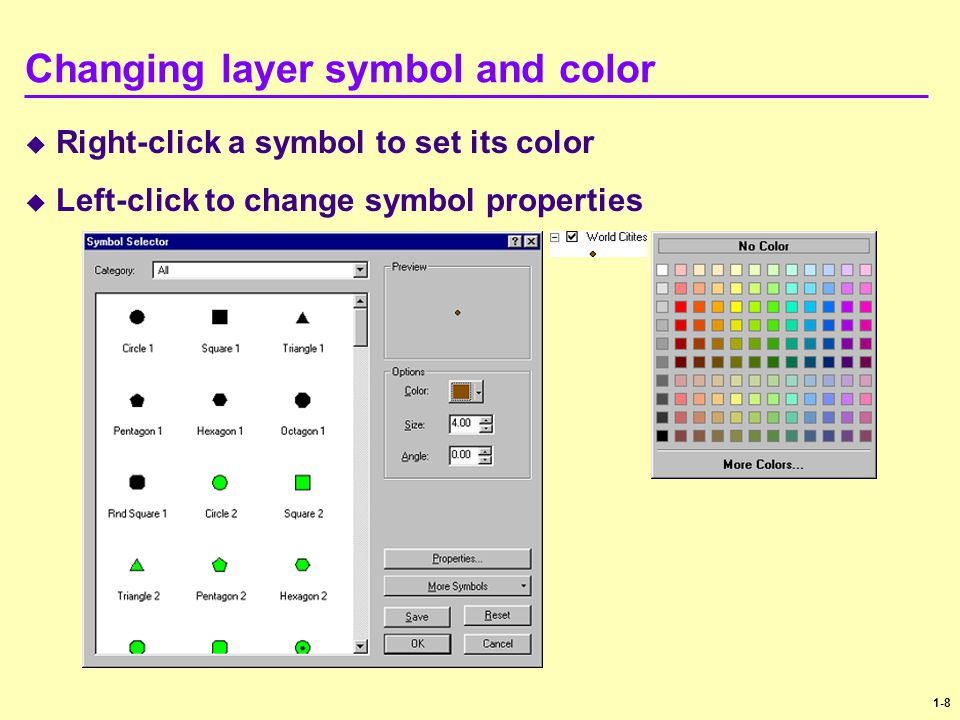 Changing layer symbol and color