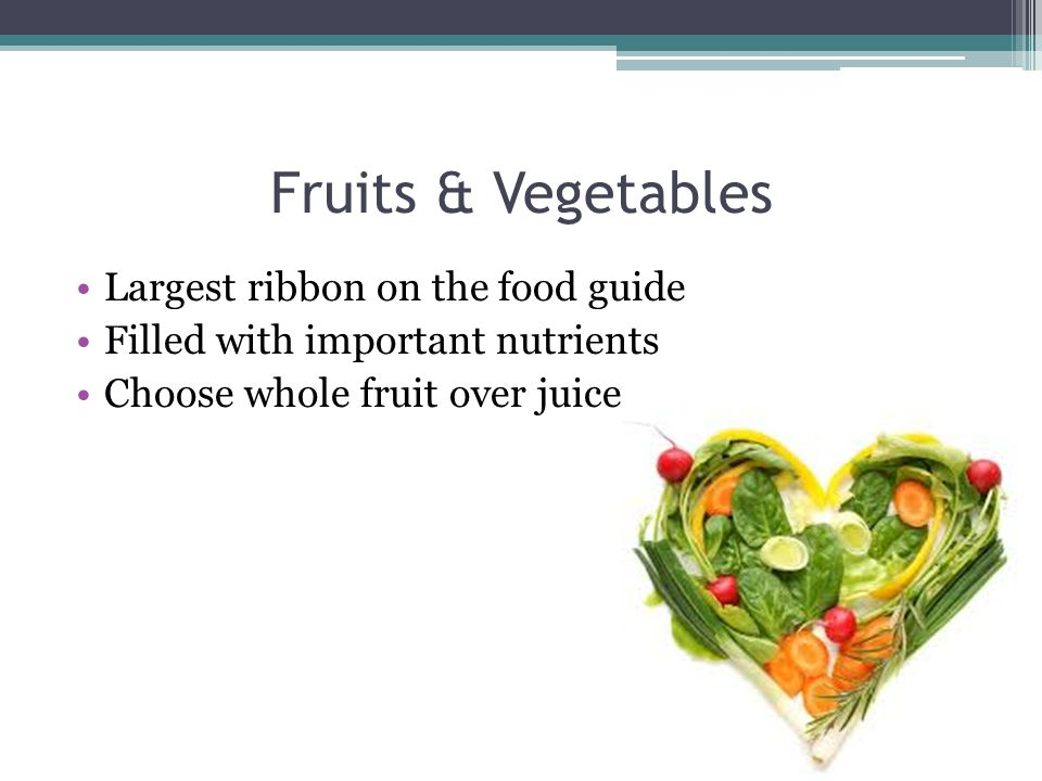 Fruits & Vegetables Largest ribbon on the food guide