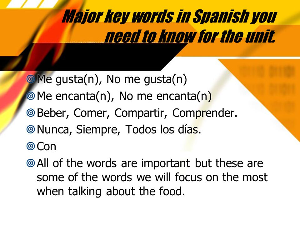 Major key words in Spanish you need to know for the unit.
