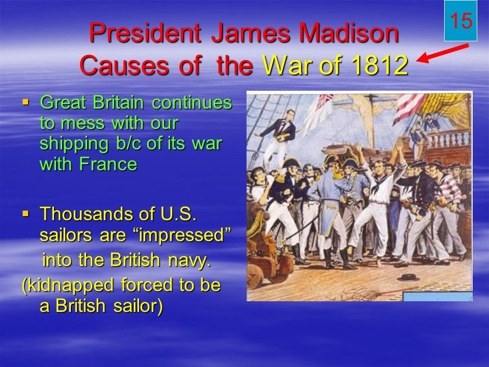 President James Madison Causes of the War of 1812