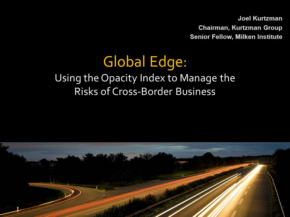 Using the Opacity Index to Manage the Risks of Cross-Border Business