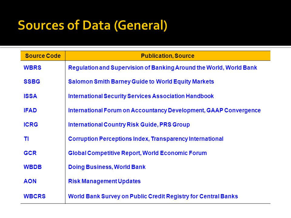 Sources of Data (General)