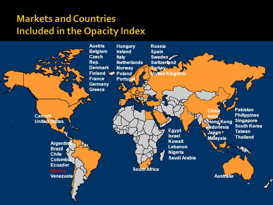 Markets and Countries Included in the Opacity Index