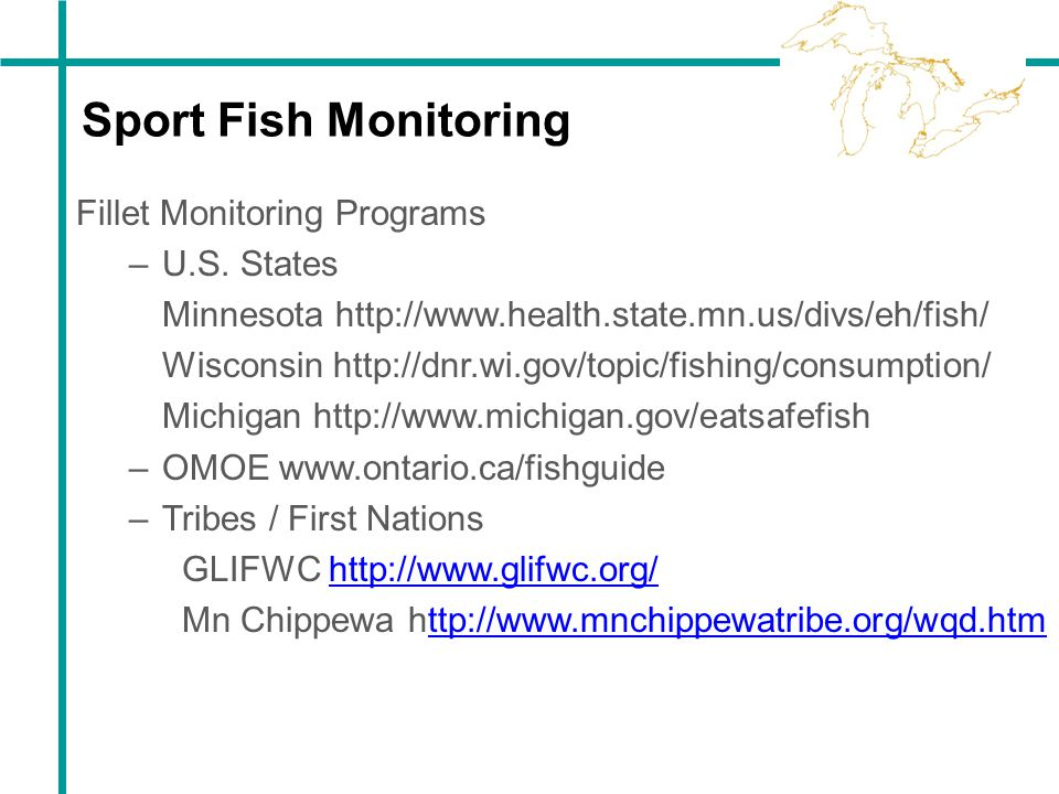 Sport Fish Monitoring Fillet Monitoring Programs U.S. States