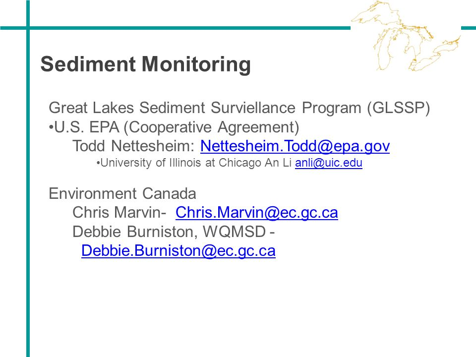 Sediment Monitoring Great Lakes Sediment Surviellance Program (GLSSP)
