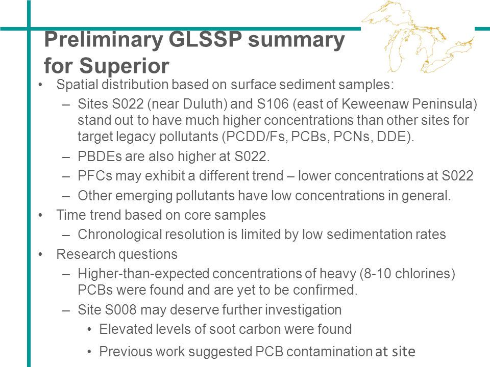 Preliminary GLSSP summary for Superior