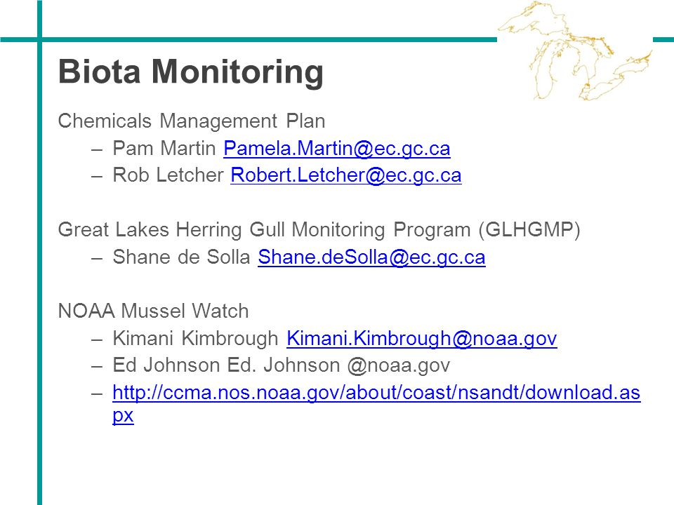 Biota Monitoring Chemicals Management Plan