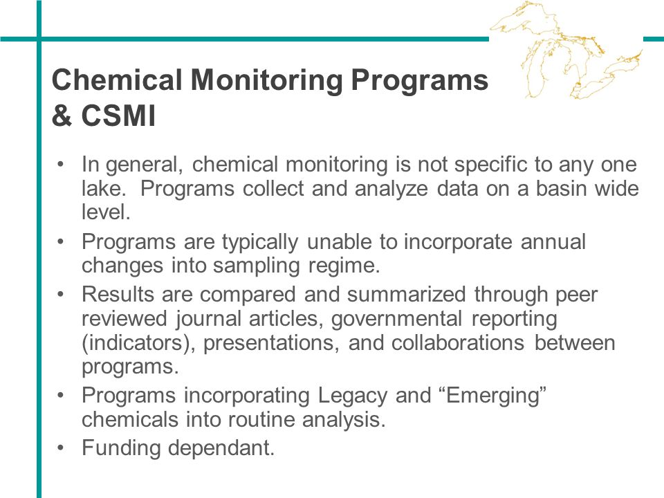 Chemical Monitoring Programs & CSMI