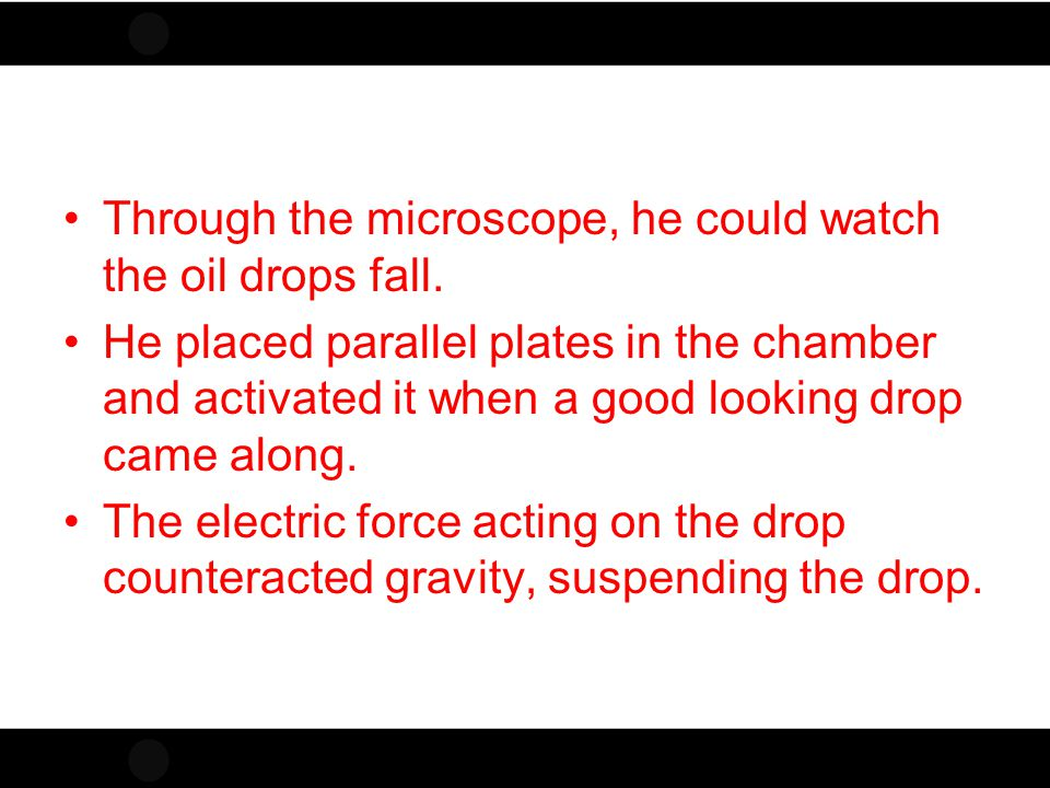 Through the microscope, he could watch the oil drops fall.