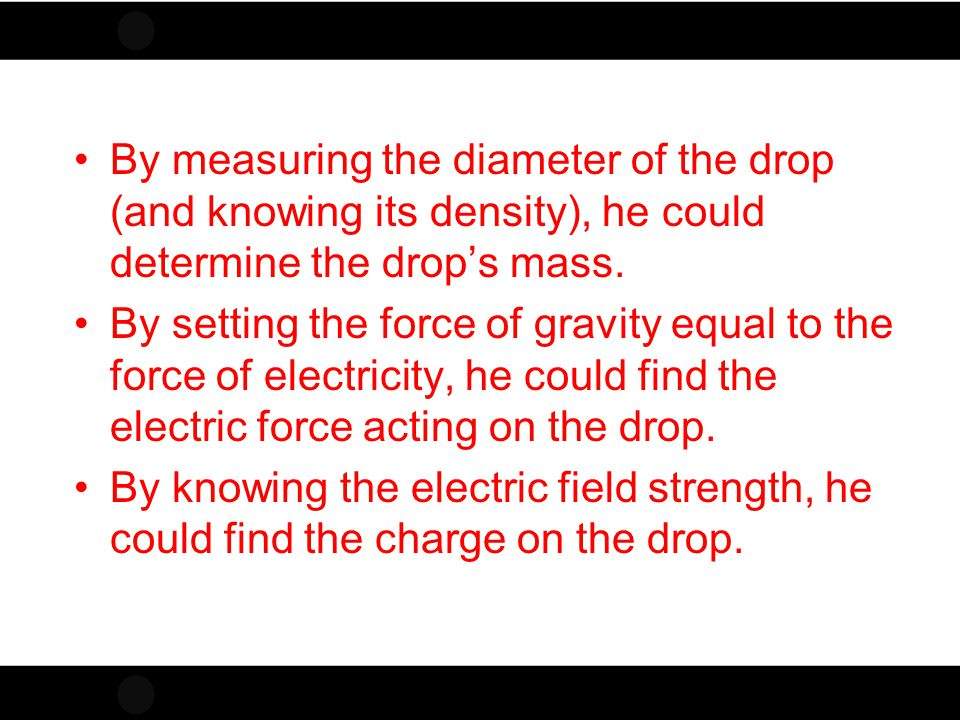 By measuring the diameter of the drop (and knowing its density), he could determine the drop's mass.